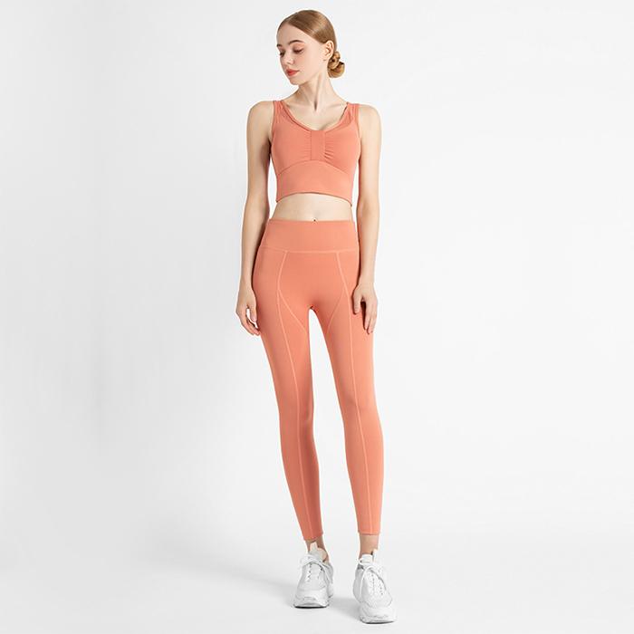 Yoga vest high waist butt lifting Leggings sports two-piece suit Factory