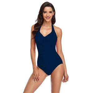 2021 európai és amerikai külkereskedelem új stílusú bikini hölgy egyszínű hajtogatott nyakörv pánt egyrészes fürdőruha
