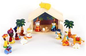 Wooden nativity set for kids