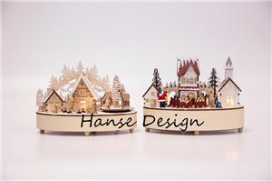 Christmas wooden decoration with music box