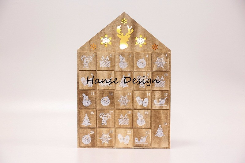 Natural finished wooden advent calendar with LED Light Manufacturers, Natural finished wooden advent calendar with LED Light Factory, Supply Natural finished wooden advent calendar with LED Light