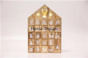 Natural finished wooden advent calendar with LED Light