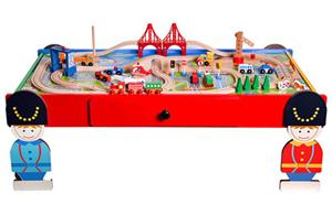Giant wooden train railway set with table