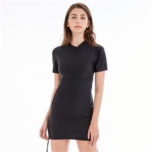 Short Sleeves Swimwear Nylon Lycra Fabric Swimwear One Piece Black Swimwear