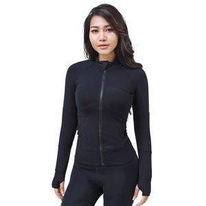 Stretchy Nylon Fitness Women Running Zipper Jacket Outdoor Sportswear Long Sleeve Yoga Sports Coat