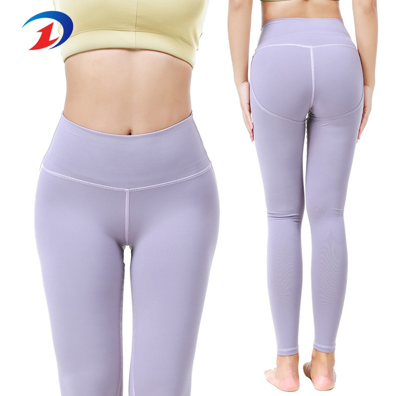 Fitness Mode Ladies Athletic Clothing Full support Lila Yoga Byxor