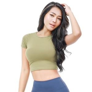 Wholesale Custom Womens Gym Sportswear Short Sleeve Yoga Top