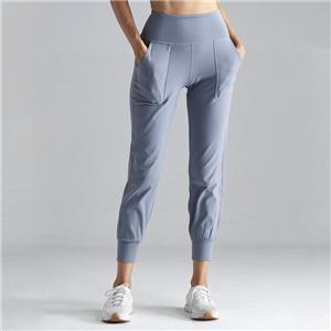 High waist Gray leisure Sports Pants with Pocket