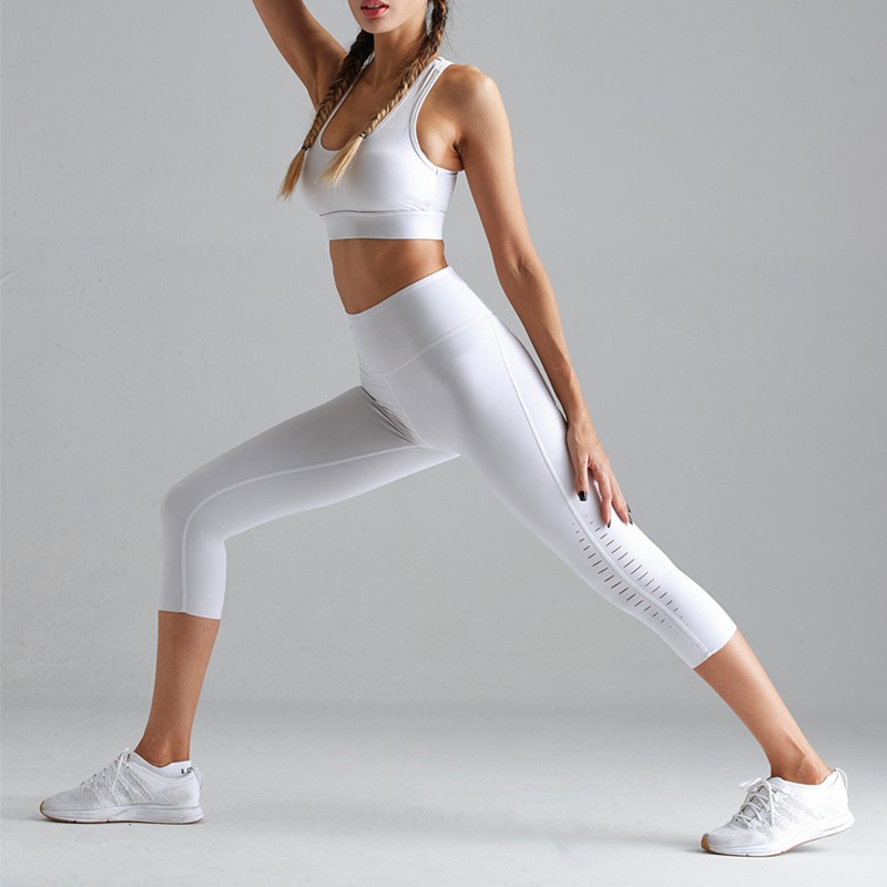 High waist Elastic pants sporting Capri Leggings