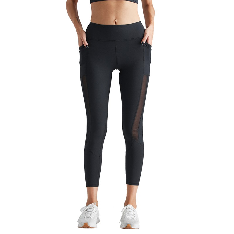 Fitness Black Mesh Ninth pants Cropped trousers