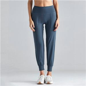 Women sports pants girl blue running trousers