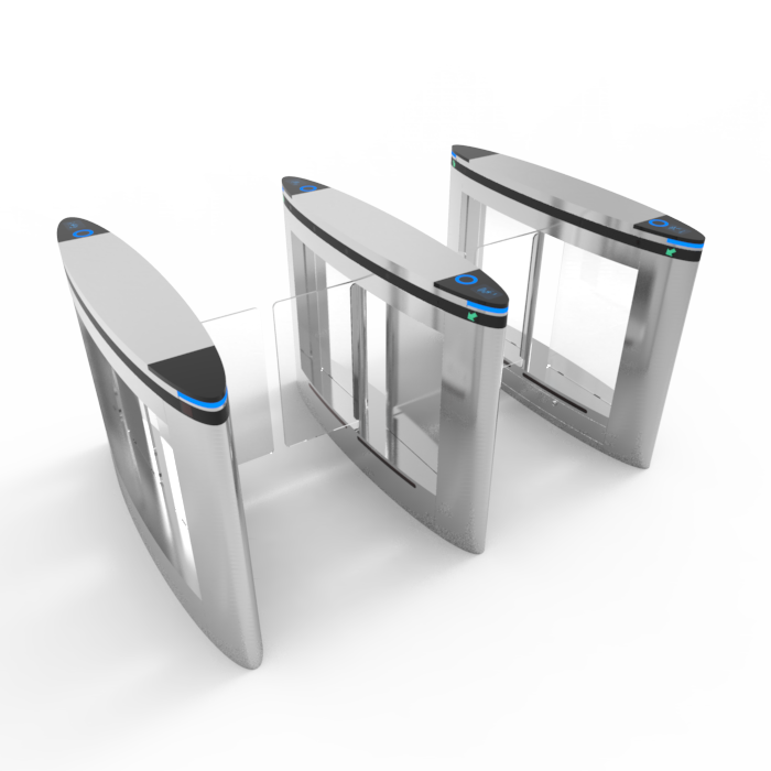 Swing barrier gate with QR code reader