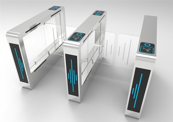 EXW Swing Barrier Fingerprint Recognition Temperature Detector Turnstile Gate For Office And Hotel