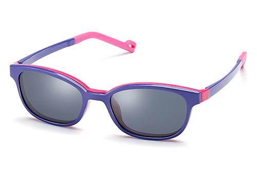 Kid Unisex ß-Plastic Eyeglass Frame with Magnetic Polarized Clip-On