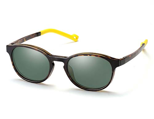 Kid Unisex Panto ß-Plastic Eyeglass Frame with Magnetic Polarized Clip-On