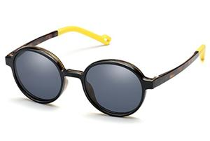 Kid Unisex Round ß-Plastic Eyeglass Frame with Magnetic Polarized Clip-On