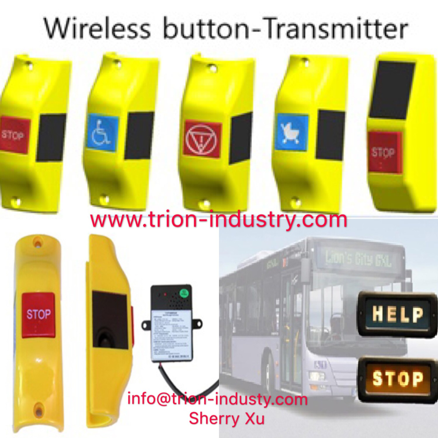 Wireless Bus Bell Push With Receiver