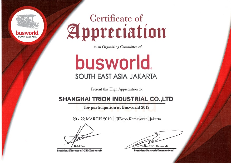 Shanghai TRION present in Busworld South East Asia 2019