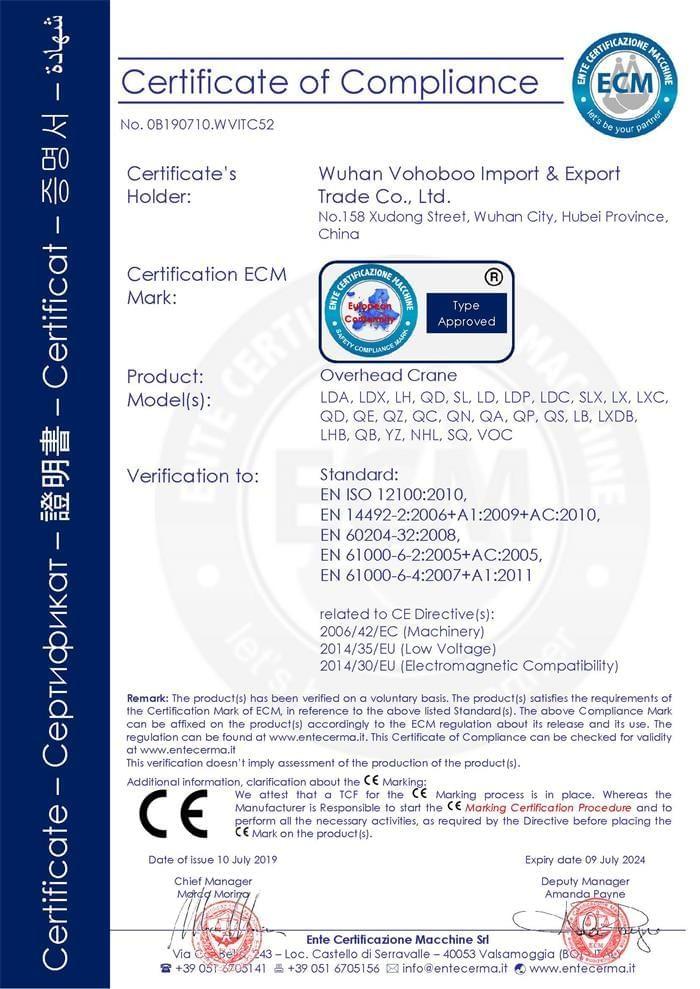 Overhead crane CE certificate