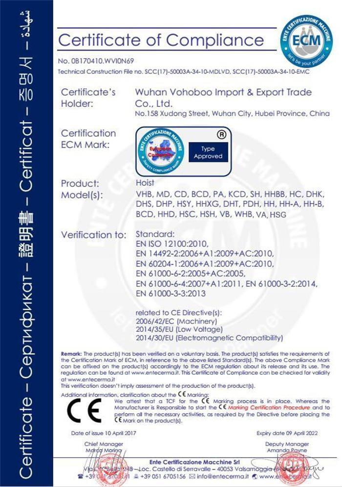 Hoist CE Certificate