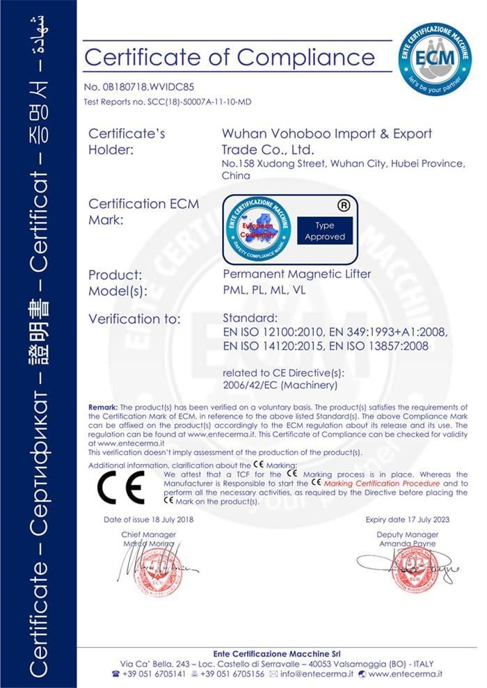 Permanent Magnetic Lifter CE Certificate