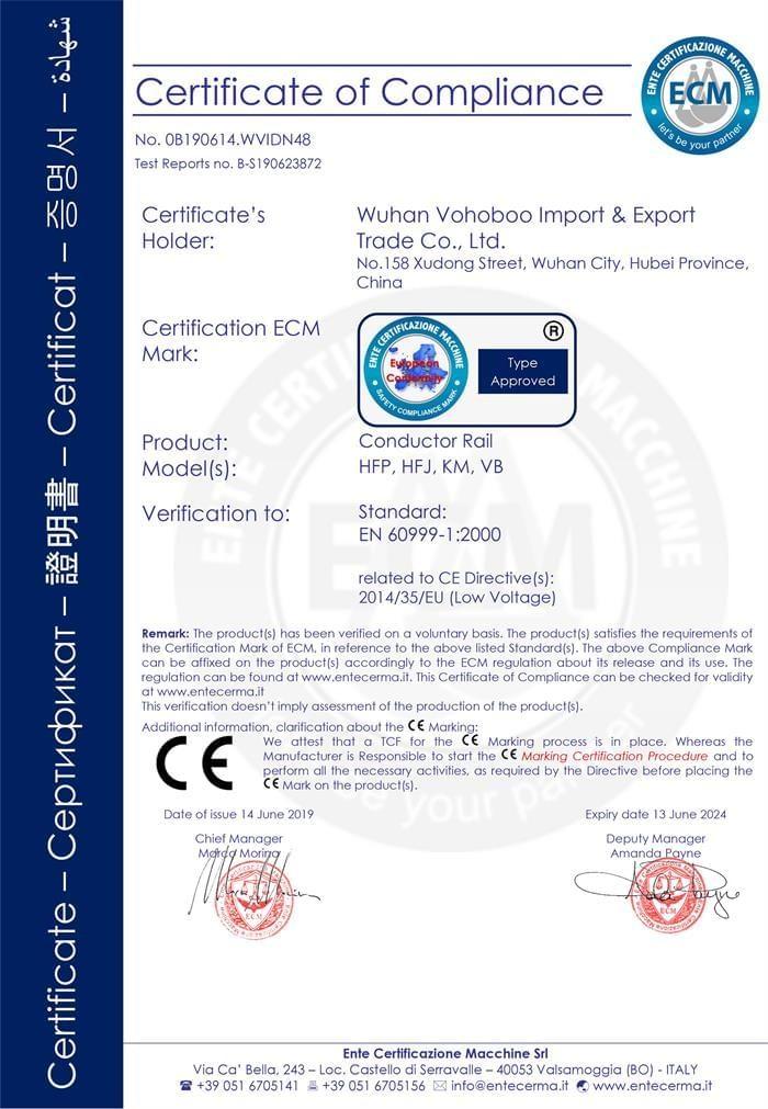Conductor Rail CE Certificate