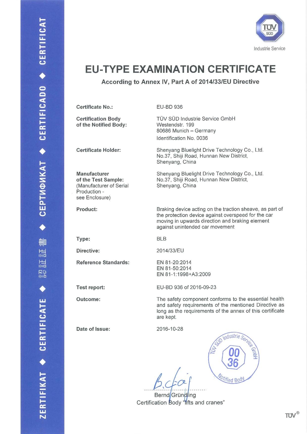 Certificado TUV de BLB