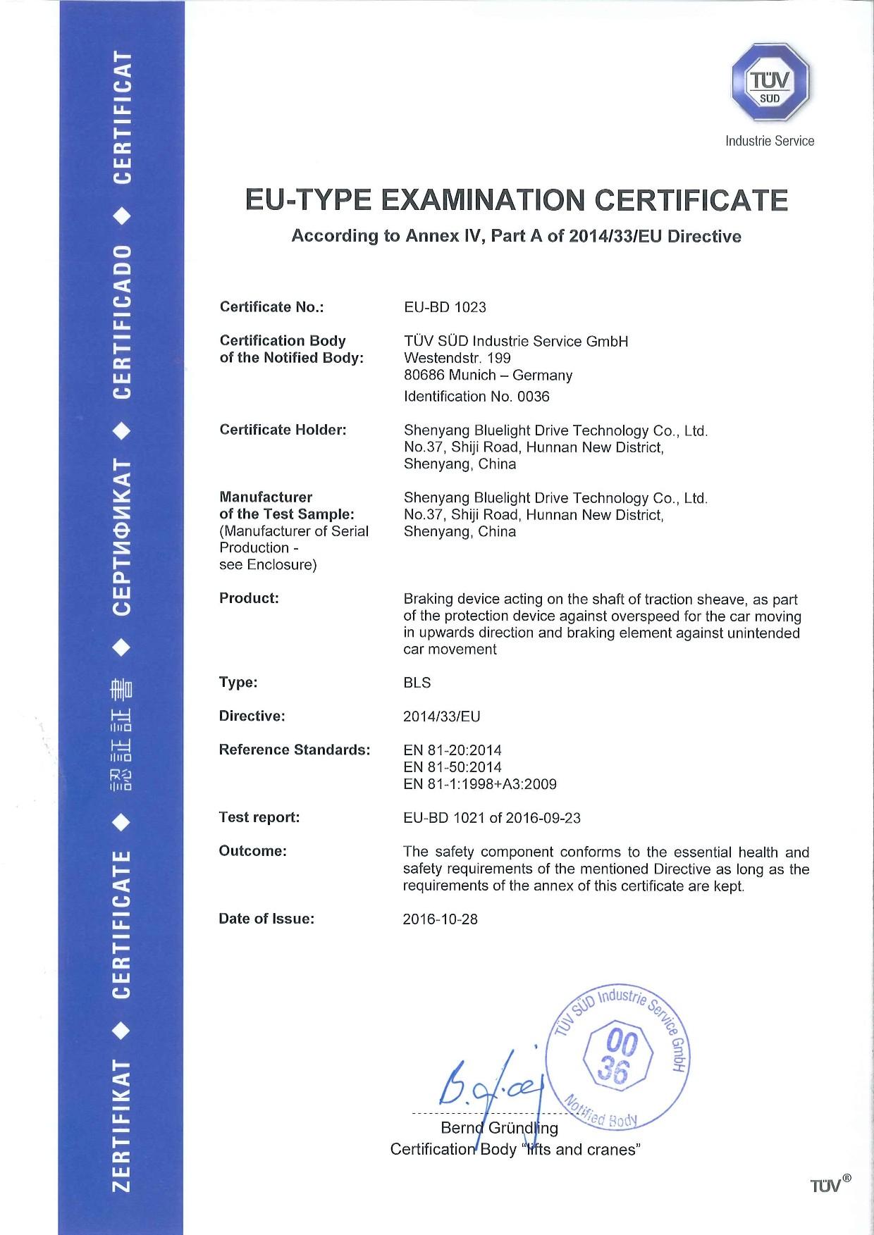 Certificado TUV de BLS