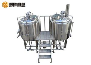 Two Vessel Glass Manhole Beer Brewhouse System