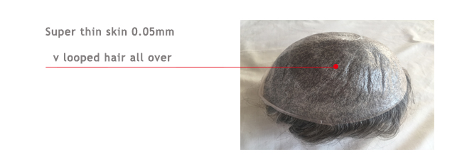 stretchable thin skin mens hair system