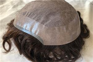 Silk Top 1/8' Skin Hairline Mens Hair System Toupee