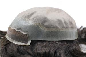 Sistema fino durável francês do cabelo da parte dianteira do laço mono para homens