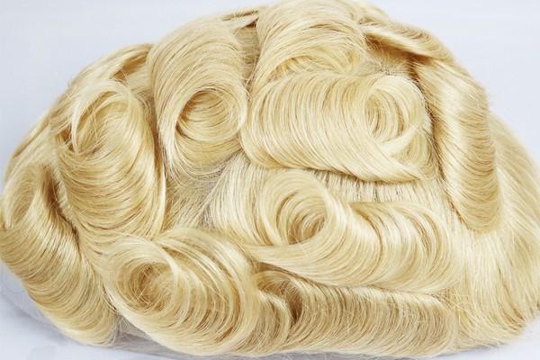 Peruca loura dos homens da cor do sistema francês completo do cabelo do laço