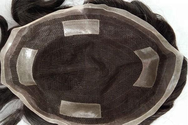 Sistema de cabelo respirável com Peruca de peruca de fita Pu para homens