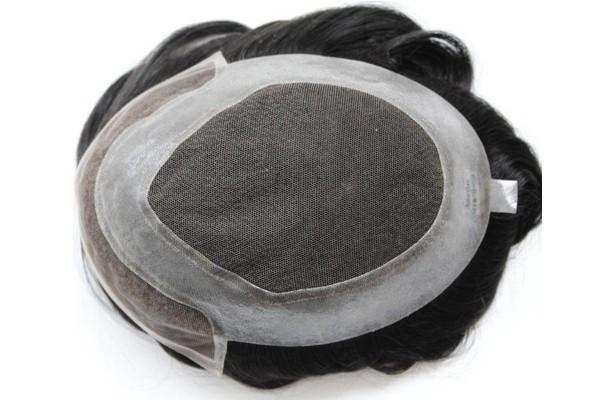 Poli da parte dianteira do laço em torno do sistema da substituição do cabelo da peruca para homens