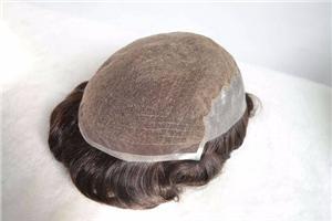 الدانتيل الفرنسي مع رقيقة الجلد الجانبين الظهر نظام الشعر للرجال