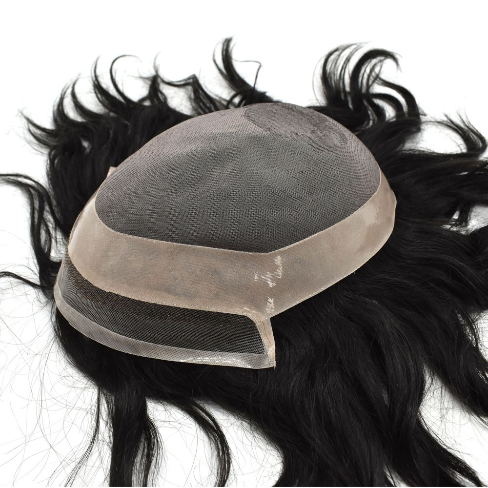 Lace Front Poly Around Toupee Hair Replacement System For Men