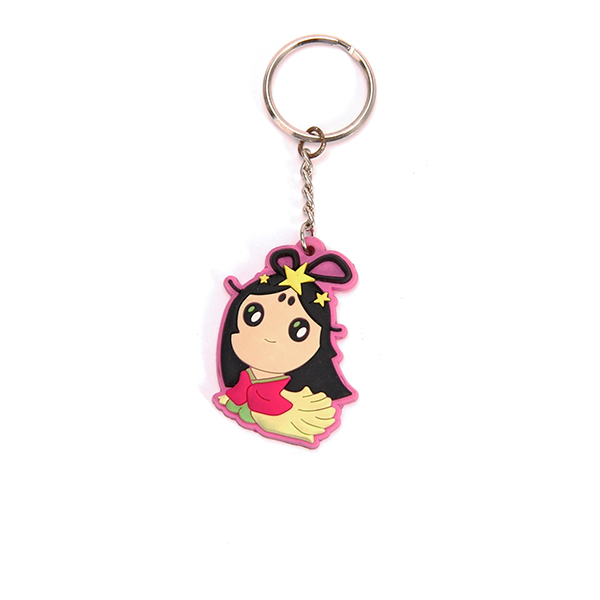 2D plastic keychain with metal ring