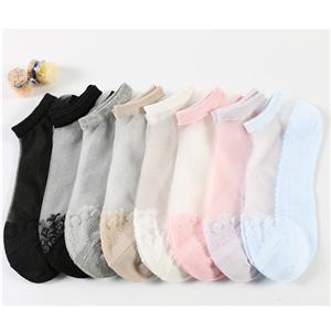 Jacquard Cool Transparent Crystal Women Invisible Socks