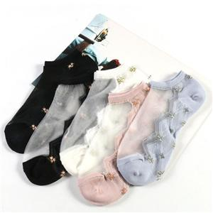 New Jacquard Crystal Flower Women Cotton Socks