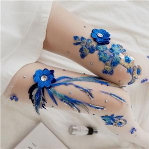 Hand-embroidered Blue Rose Pattern Women Pantyhose