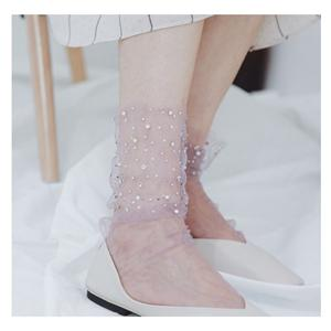 Stylish Mesh Gauze Lace Flash Drill Ladies Pile Socks