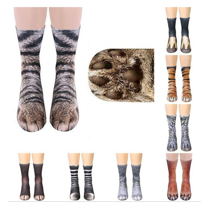 Stylish 3D Print Realistic Animal Foot Print Socks