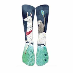 Stylish Printed Sloth Christmas Cartoon Sports Socks
