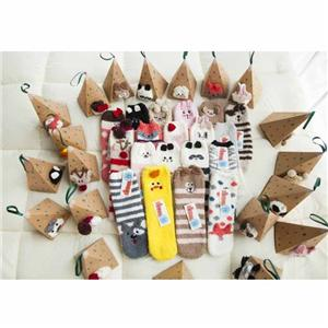 Coral Velvet Thick Three-dimensional Cartoon Embroidery Christmas Socks