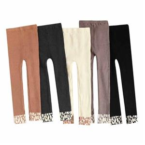 Korean Style Plus Velvet Thick Tide Children Leopard Leggings