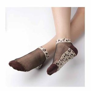 Crystal Silk Clear Cotton Bottom Thin Leopard Sexy Ladies Short Stockings