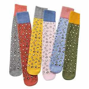 Personalized Funky Colorblock Tall Leopard Ladies Casual Socks