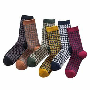 Double Needle Houndstooth College Wind Heap Ladies Socks