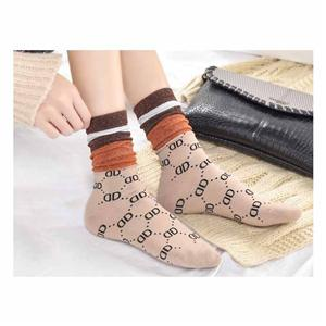 Personalized Double-D Trend Gold Silver Silk Women Socks